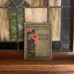 1901 Vintage Hardcover Schoolbook Green and Red